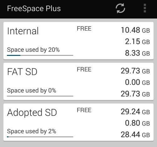 Free space adoptable storage